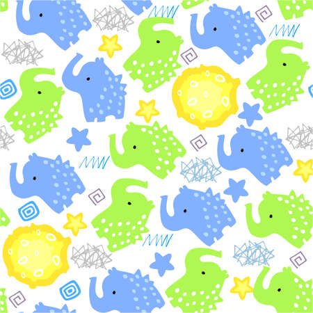 Fun seamless pattern with blue and green elephants and the moon. Pattern with childrens pattern for fabric and textiles.