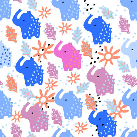 Bright seamless pattern with cute elephants, sun and foliage. Pattern with child pattern on white background for fabric and textile.