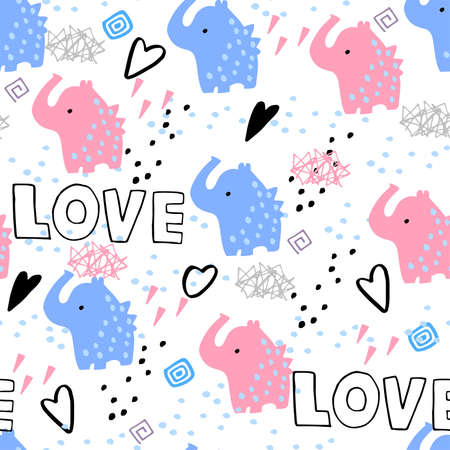 Seamless pattern with pink and blue elephants, hearts and love inscription. Pattern with romantic pattern on white background for fabric and textile.