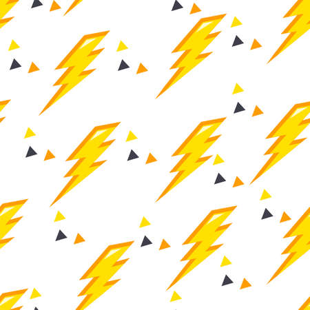 Seamless pattern with yellow lightning and triangles on white background. Pattern for fabric and textiles. 向量圖像