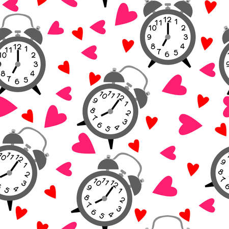 Seamless pattern with alarm clock and hearts. Time pattern and love on white background.
