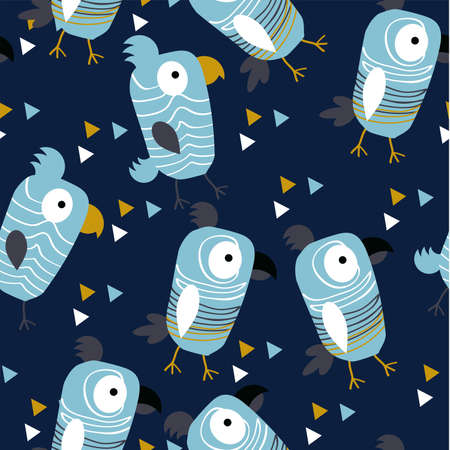 Seamless pattern with blue striped parrots on dark blue background. Pattern for fabric and textiles. Banco de Imagens - 129785782
