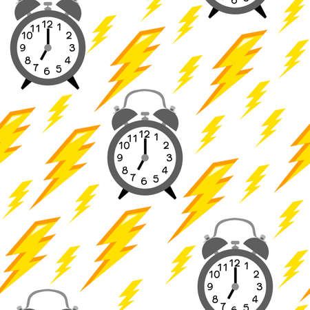 Seamless pattern with alarm clock and yellow lightning. Time pattern and lightning on white background.