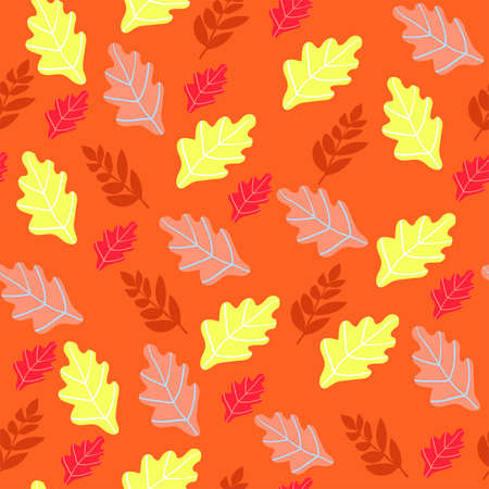 Autumn seamless pattern with orange leaves. Pattern for fabric and textile.