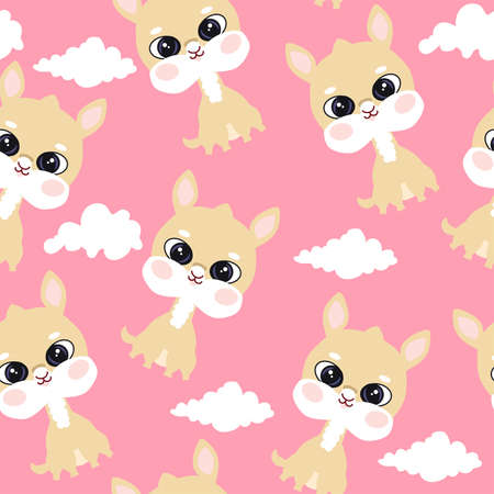 Cute pink seamless pattern with Lama and white clouds on pink background.