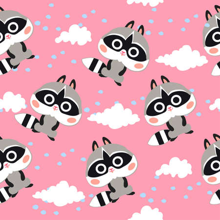 Cute pink seamless pattern with raccoons and white clouds on pink background. Pattern for fabric and textile.