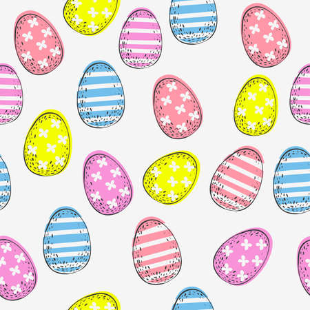 Seamless pattern with colorful Easter eggs on white background. Hand-drawn Easter eggs.