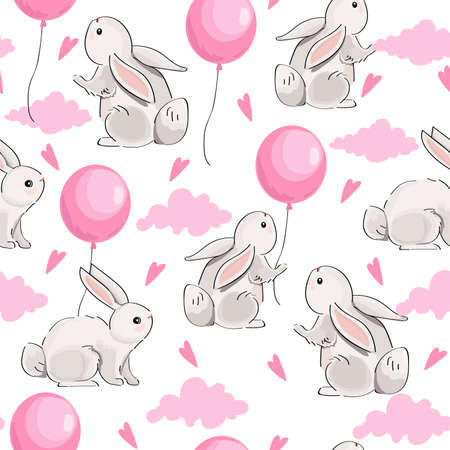 Cute seamless pattern with hares and balloons on white background.