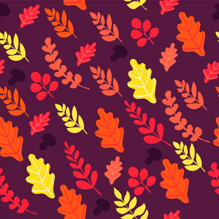 Seamless pattern with colorful autumn leaves and mushrooms on lilac background. Autumn leaf fall.