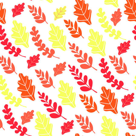 Autumn seamless background with orange, yellow and red leaves on white background. Pattern with natural motifs.