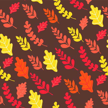 Autumn seamless pattern with orange, yellow and red leaves on brown background. Pattern with natural motifs.