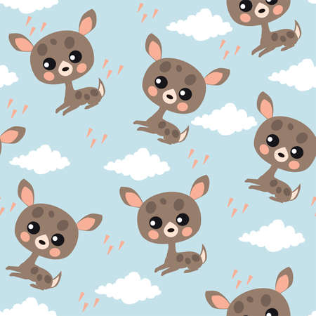 Seamless pattern with cute fawns and clouds on blue background.