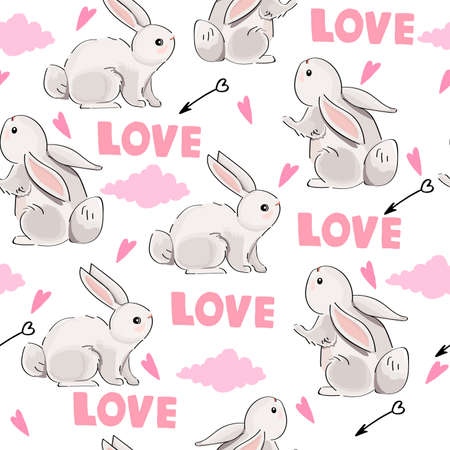 Seamless pattern with cute hares and love inscription on white background.