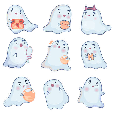 Set of cute ghosts on a white background. Kawaii Ghost with Halloween pumpkin. 向量圖像