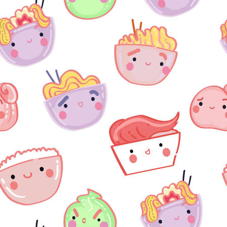 Seamless pattern with Asian food. Kawaii ramen, noodles, Udon, tempura with shrimp, wasabi, ginger, rice on white background.