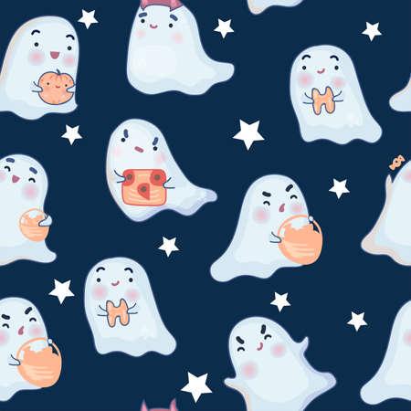 Cute seamless pattern with cartoon ghosts on dark background.