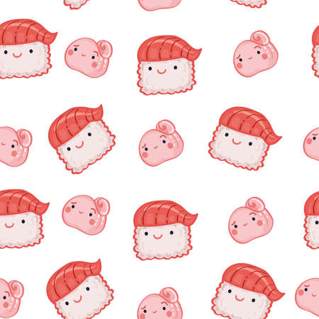 Seamless pattern with Kawaii ginger and sushi with salmon on white background.