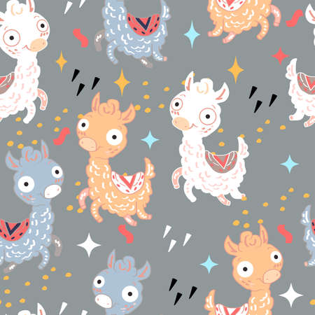 Seamless pattern with multicolored happy llamas. Suitable for textile, packaging paper.