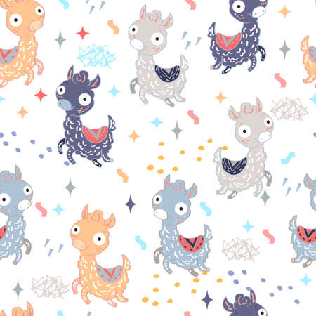 Seamless pattern with multicolored happy llamas on white background. Suitable for textile, packaging paper.