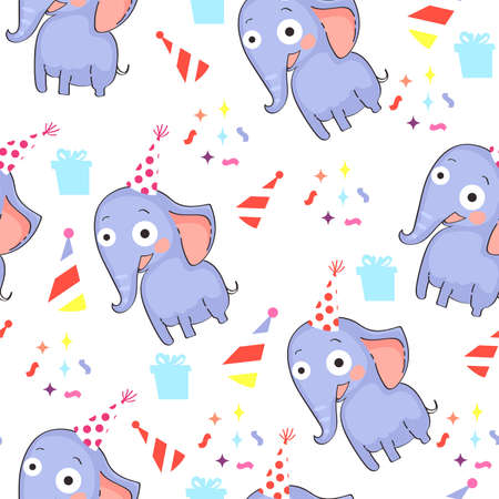 Seamless pattern with elephants on white background.