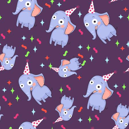 Seamless pattern with elephants on purple background.