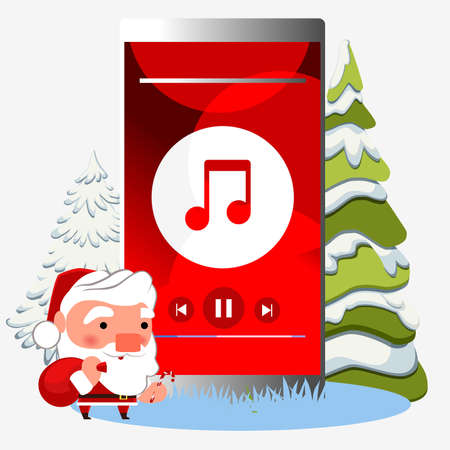 Mobile phone with Christmas music. Winter background and christmas tree.