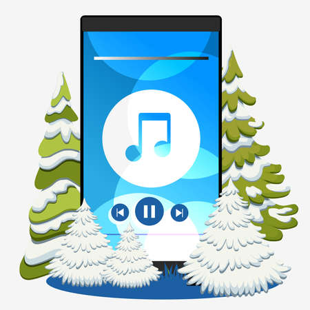 Mobile phone with Christmas music. Winter background.