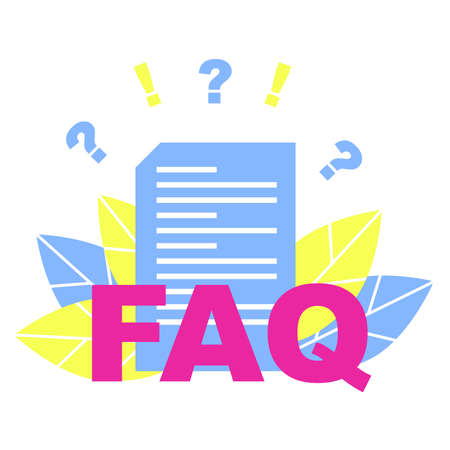 Concept of a list of frequently asked questions. Decorative flat illustration.