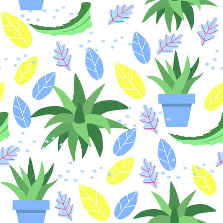 Seamless pattern with scarlet and aloe Vera leaves in pot on white background. Ilustracja