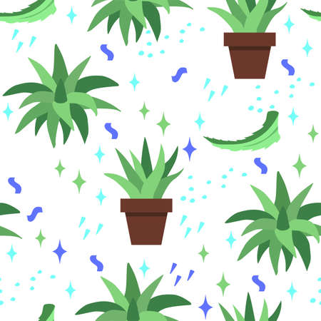 Seamless pattern with scarlet and aloe Vera leaves in pot on white background. Plant used in folk medicine. Иллюстрация