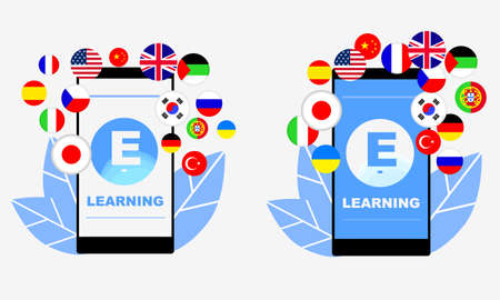 E-learning of different foreign languages through the mobile application. Ilustracja