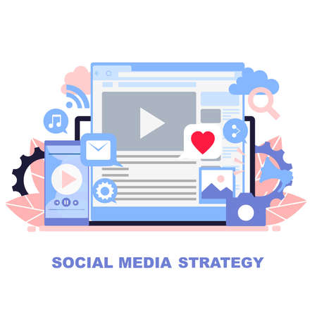 Concept of strategy in social media. Strategy of promotion of blogs, vlogs and pages in social networks.