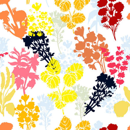 Bright floral seamless pattern. The pattern of medicinal herbs is suitable for textiles and packaging.