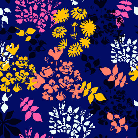 Seamless pattern with colorful leaves and flowers on a dark blue background. Ilustracja