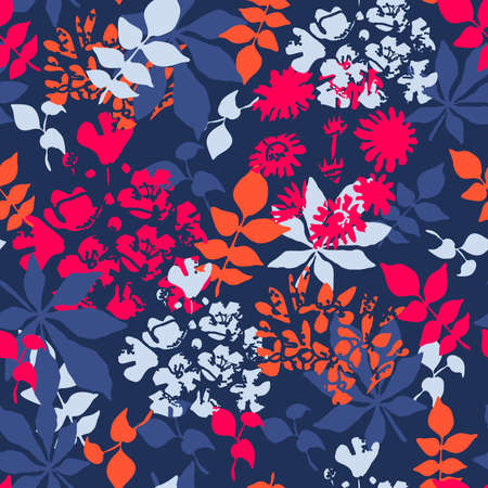 Floral seamless pattern. Field colorful flowers on a blue background.