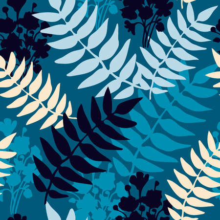 Botanical minimalistic seamless pattern with leaves in blue tones. Ilustracja