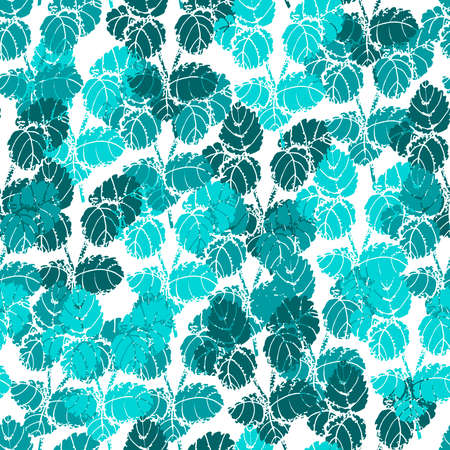 Seamless background with turquoise mint leaves on white background. Ilustracja