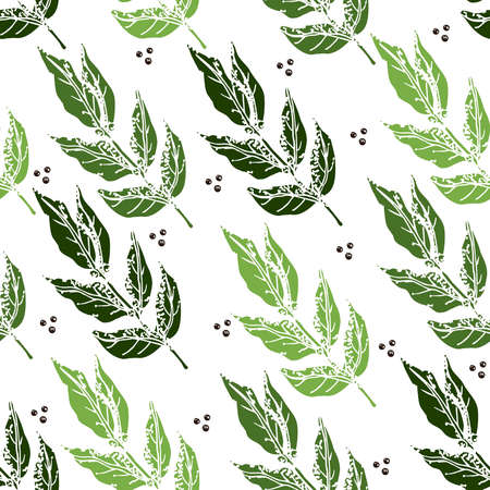 Seamless background with green Bay leaf leaves and peppercorns on white background.