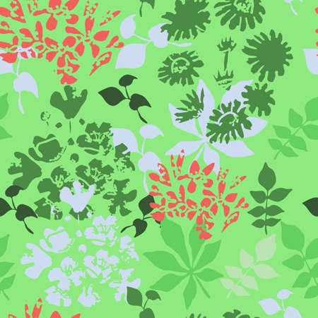 Green seamless pattern with wildflowers and herbs.