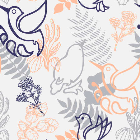 Birds, flowers and leaves. Spring seamless pattern. Illustration