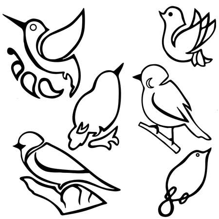 Set of black and white birds isolated on a white background