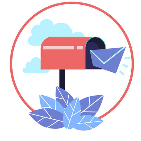 Paper letter came in the mail. Traditional mailbox and letter. Ilustracja