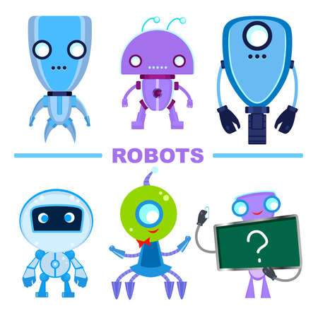 Set of robot characters. Multicolored robots isolated on a white background. Ilustracja