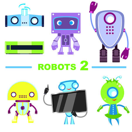 Set of robot characters. Robots isolated on a white background. Ilustracja