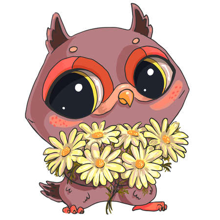 Cute owl with a bouquet of field daisies isolated on a white background ..