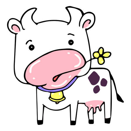 White cartoon heifer with a bell around her neck chews a yellow field flower