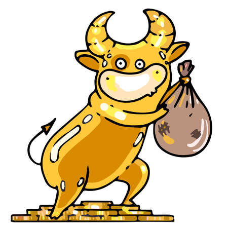 Golden calf stands on a mountain of gold coins and holds a bag of gold Ilustracja