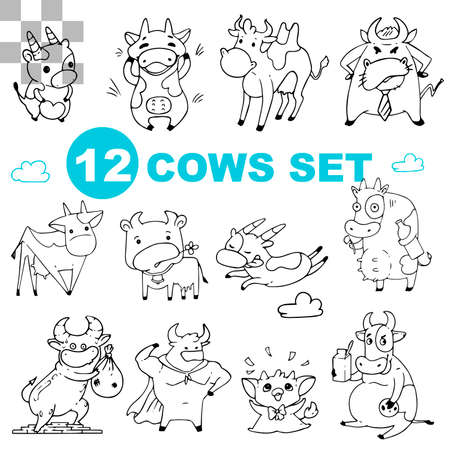 Set of funny black and white cows and bulls isolated on a white background