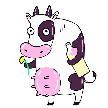 Large white cow holds a dandelion and a glass bottle of milk