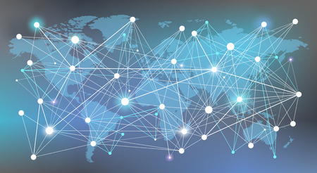 worldwide network concept - data, management, analysis & resources illustration